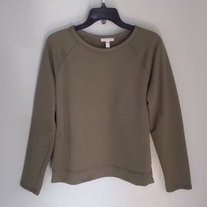 Eileen Fisher olive cotton terry sweatshirt M